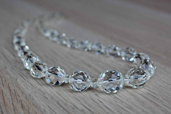 Faceted Crystal Bead Graduated Choker Necklace