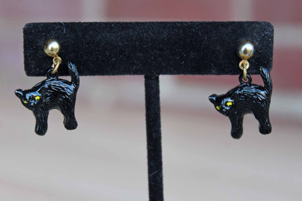 Dangling Black Cat Pierced Earrings