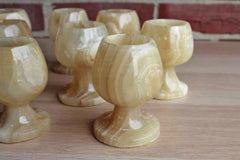 Hand Carved Onyx Goblets, Set of 8