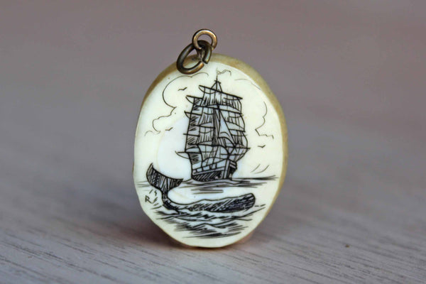 Little Oval Scrimshaw Charm of a Whale and Boat