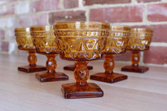 Colony Glass (Connecticut, USA) Park Lane Amber Champagne/Sherbet Glasses, Set of 6