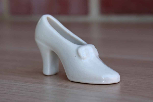 Tiny White Ceramic High-Heeled Shoe Planter
