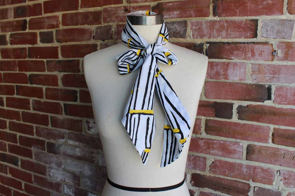 Long Polyester Scarf Decorated with Black and Yellow Abstract Striped Design
