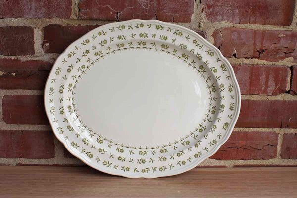 "J. & G. Meakin (England) ""Forget Me Not"" Green 14"" Oval Seving Platter"