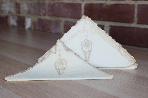 Fine Irish Linen Napkins with Embroidered Edges and Ice Cream Cone Decorations, 6 Napkins