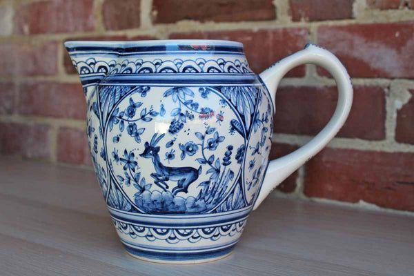 Coimbra (Portugal) Blue and White Ceramic Handled Vase Decorated with Stags within Floral Cameos
