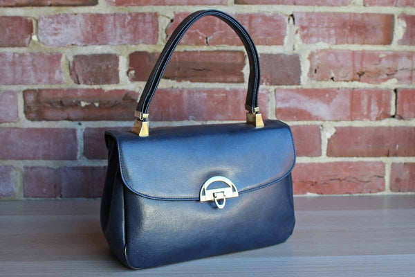 Koret (New York, USA) Navy Blue Handbag with Red Interior