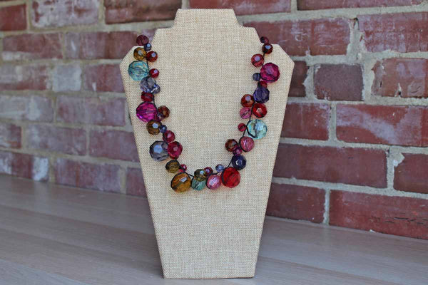Large and Bold Faceted Plastic Bead Necklace with Satin Ribbon