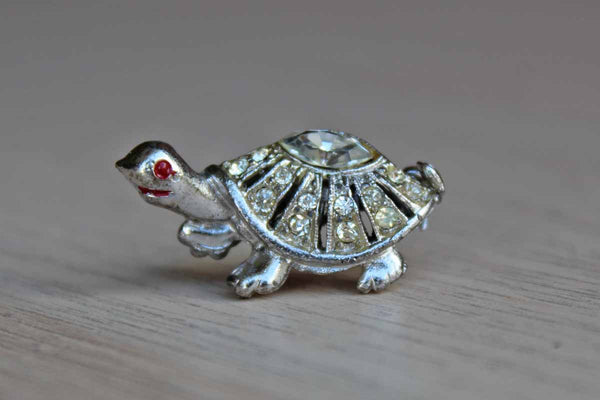 Silver Rhinestone Turtle Brooch with Red Painted Eye and Mouth