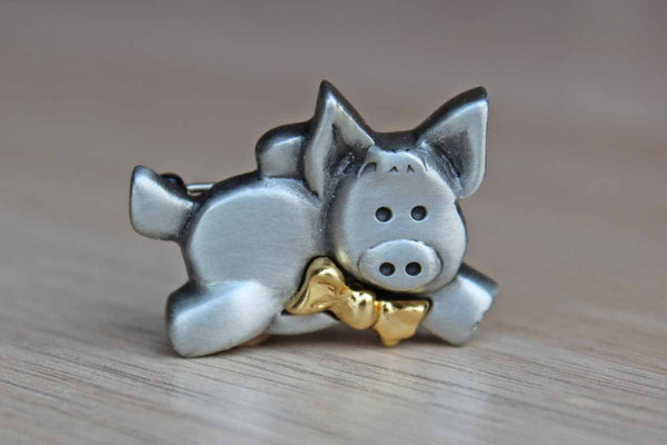 Silver Tone Flying Pig Wearing a Gold Bowtie Brooch