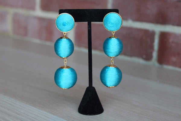 Bold Dangling Blue Beaded Drop Pierced Earrings