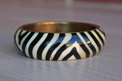Hand Painted Brass and Enamel Zebra Stripe Bracelet