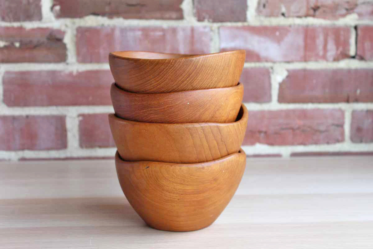 Dolphin (Thailand) Teak Serving Bowls, Set of 4