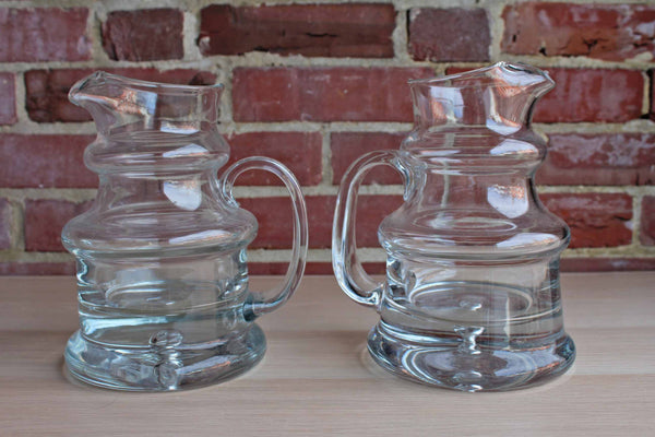 Heavy Clear Glass Handled Pitchers with Thick Solid Bases, A Pair