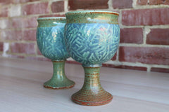 Handmade Ceramic Goblets with Conifer Branch-Like Designs, A Pair