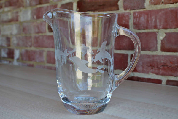 Lenox (USA) Heavy Clear Glass Handled Pitcher with Etched Dolphins
