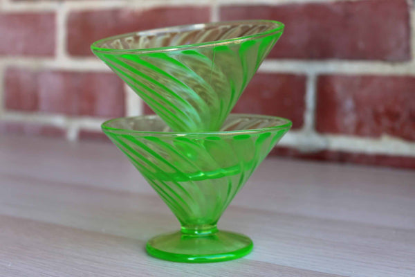 Green Pressed Glass Footed Dishes, A Pair