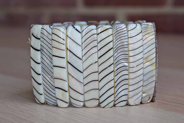 Zebra Shell Mother of Pearl Cuff Bracelet