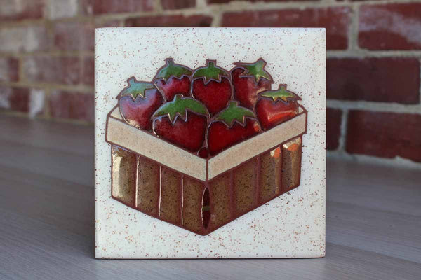 Strawberry Basket Ceramic Tile Made in Italy
