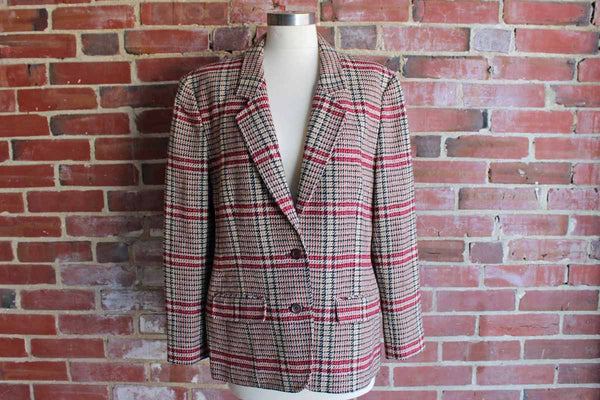 Pendleton Woolen Mills (Oregon, USA) Tan, Black, and Maroon Houndstooth Blazer, Women's Extra-Large