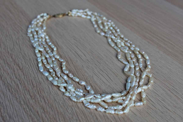 5-Strand Rice Pearl Necklace