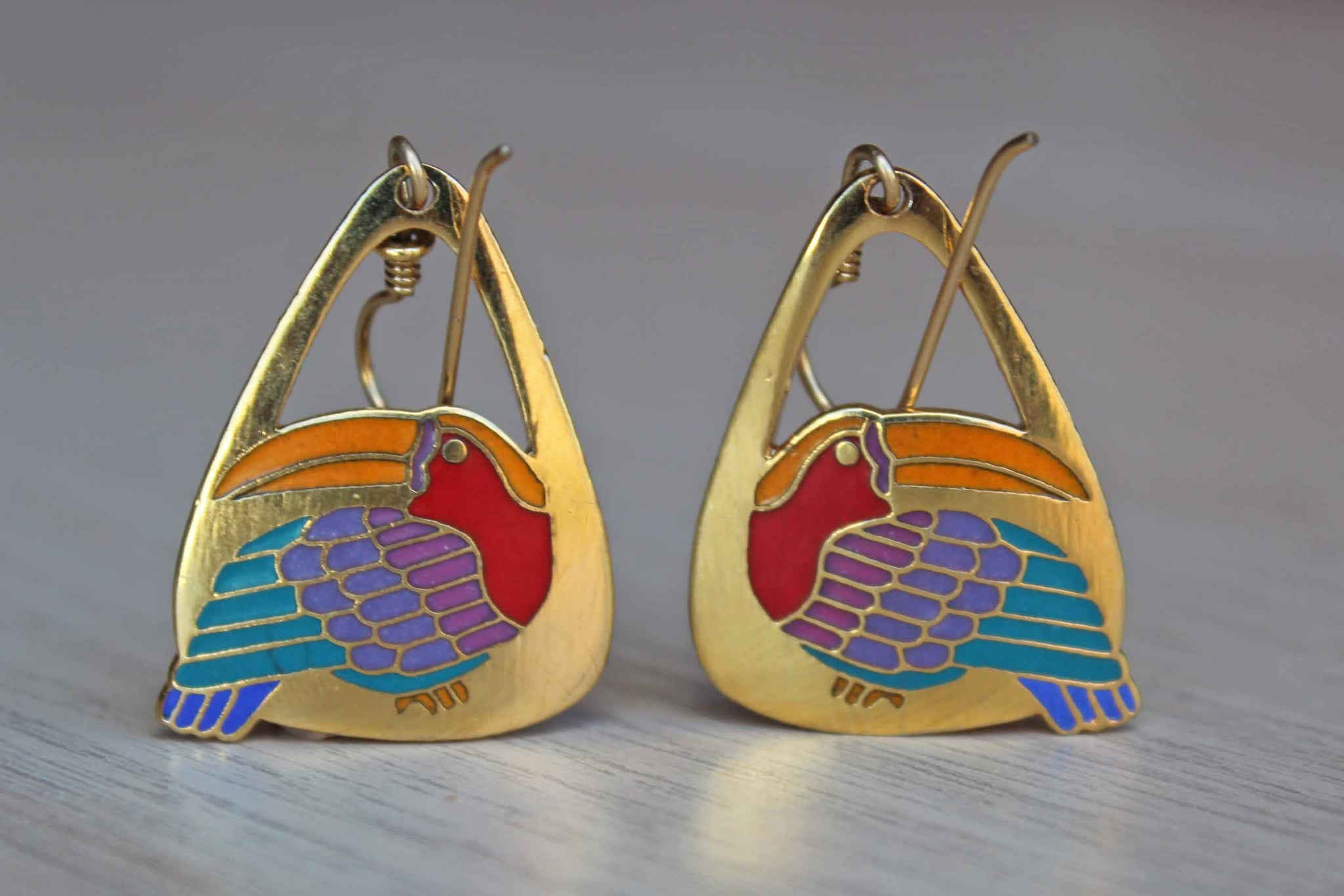 "Laurel Burch (California, USA) Pierced ""Toucan"" Drop Earrings"