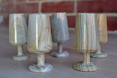 Hand Carved Banded and Striped Agate Aperitif Cups, Set of 5