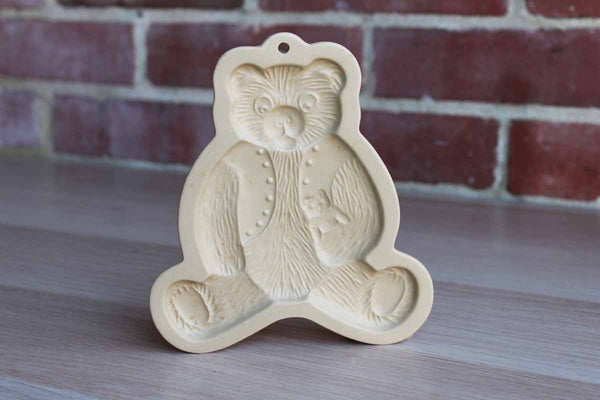 Brown Bag Cookie Art (New Hampshire, USA) 1984 Stoneware Cookie Mold of a Bear Holding a Teddy Bear