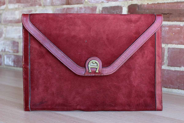 Etienne Aigner (New York, USA) Antic Red Leather and Suede Clutch Bag