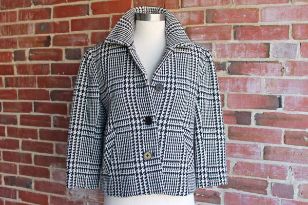 Lauren by Ralph Lauren (New York, USA) Swingy Black and White Herringbone Jacket, Size 4