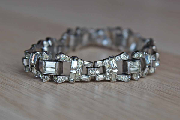 Silver Rhinestone Bracelet with Art Deco Inspired Design