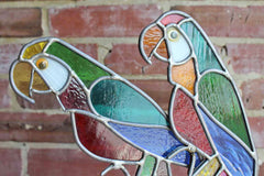 Colorful Stained Glass Parrots, A Pair