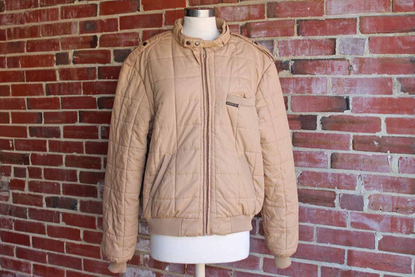 Members Only (USA) Tan Quilted Racer Jacket, Size 46 Large