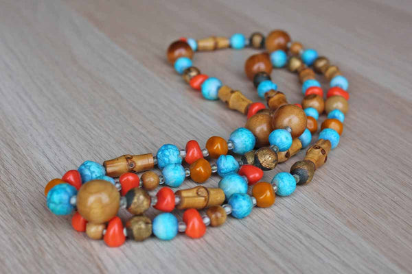 Colorful Wood and Glass Bead Necklace