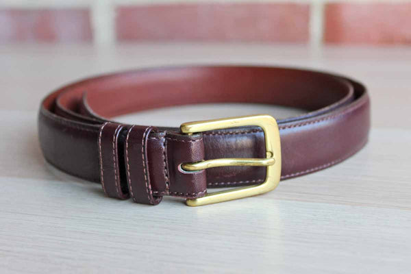 Coach (USA) Burgundy Leather Belt with Brass Buckle
