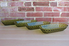 Indiana Glass Company (Indiana, USA) Pretzel Pattern Avocado Green Serving Dishes, Set of 4