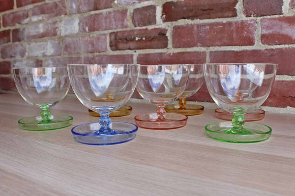 Cordial Glasses with Rimmed Plate Base, Set of 7