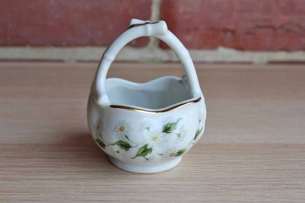 Lefton China (Japan) Hand-Painted Porcelain Trinket Basket with Daisies and Gold Trim