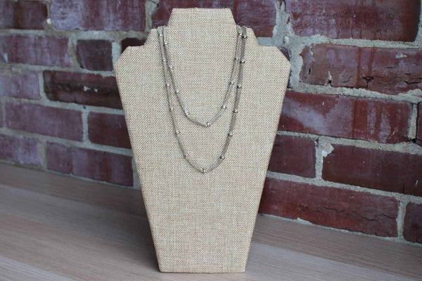 Silver Multi-Chain Necklace with Fixed Silver Bead Spacers