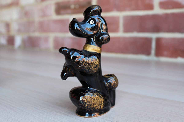 Black Ceramic Sitting Poodle Bud Vase or Pen Holder