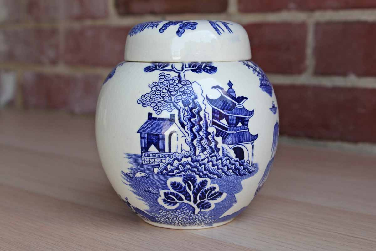 Mason's Ironstone (England) Blue and White Chinese Landscape Ginger Jar/Tea Caddy Made for Twining & Co. (No Lid)