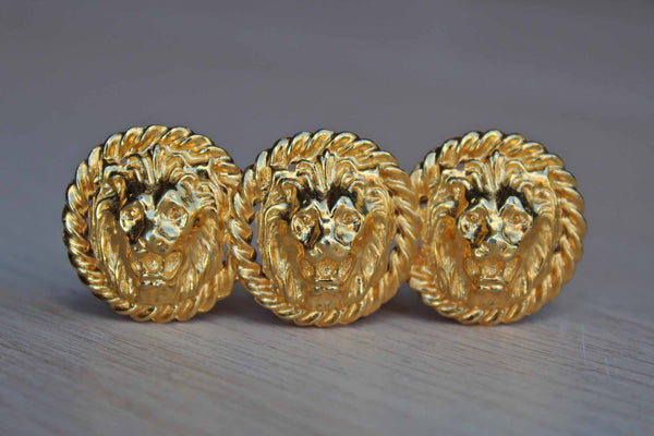 Gold Tone Growling Lion Brooch