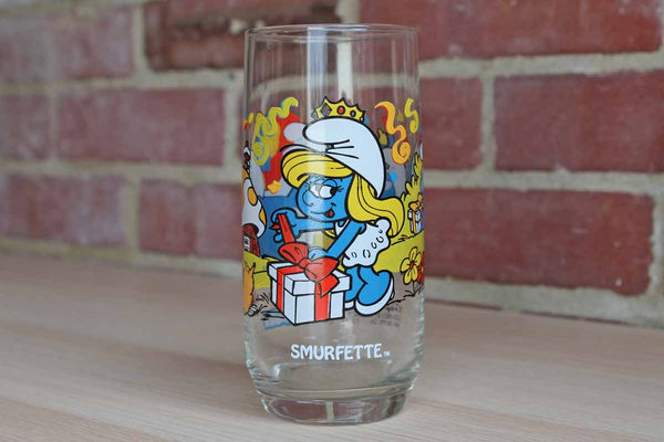"1982 Hardee's ""Smurfette"" Collectors Glass"