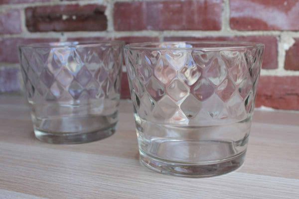 Clear Glass Ice Buckets or Snack Bowls with Diamond Optic Pattern, A Pair