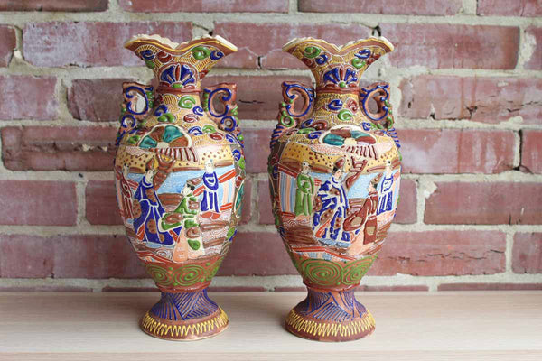 Japanese Satsuma Vases With Vibrantly Detailed Moriage and Beading
