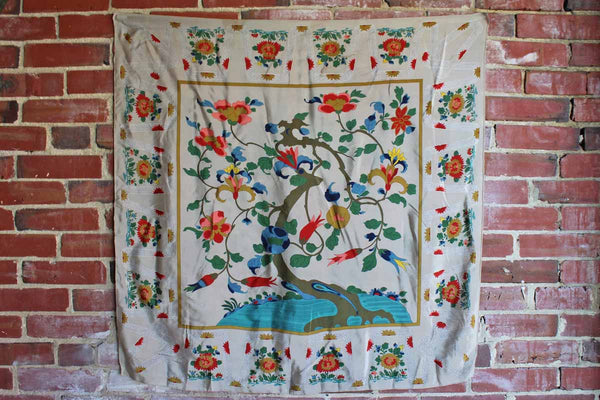 100% Silk Scarf Decorated with A Tree Producing Colorful Flowers