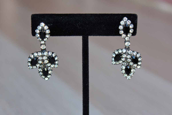 Black and Silver Rhinestone Drop Pierced Earrings Shaped Like Leaves