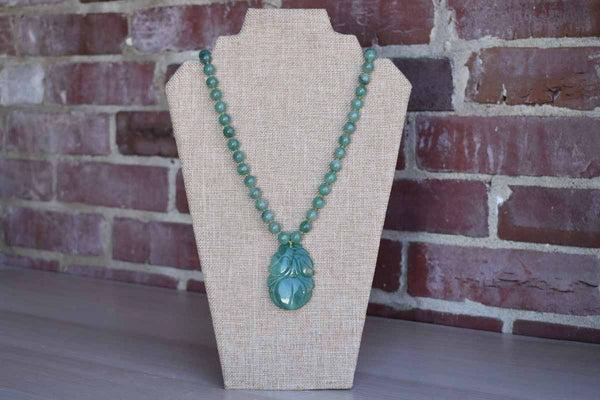 Beaded Jade Necklace with Jade Flower Medallion