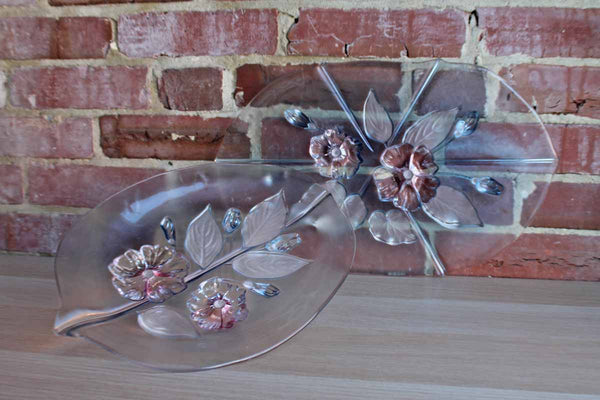Glass Serving Trays with Frosted Leaves and Glossy Pink and Blue Flowers, A Pair