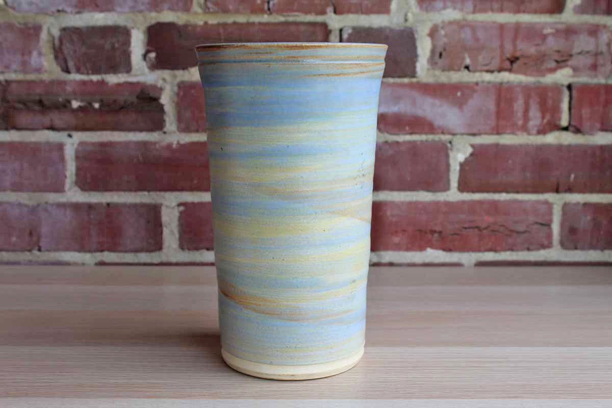 Tall Handmade Vase in Washed Over Shades of Blue and Ocre